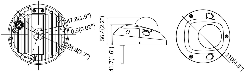 Wymiary kamery sieciowej Hikvision w mm.