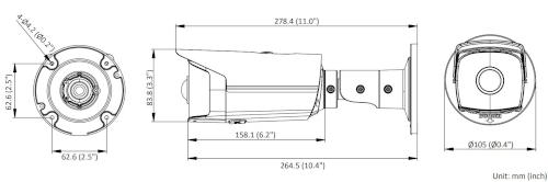 DS-2CD2T45G0P-I - Wymiary kamery IP.