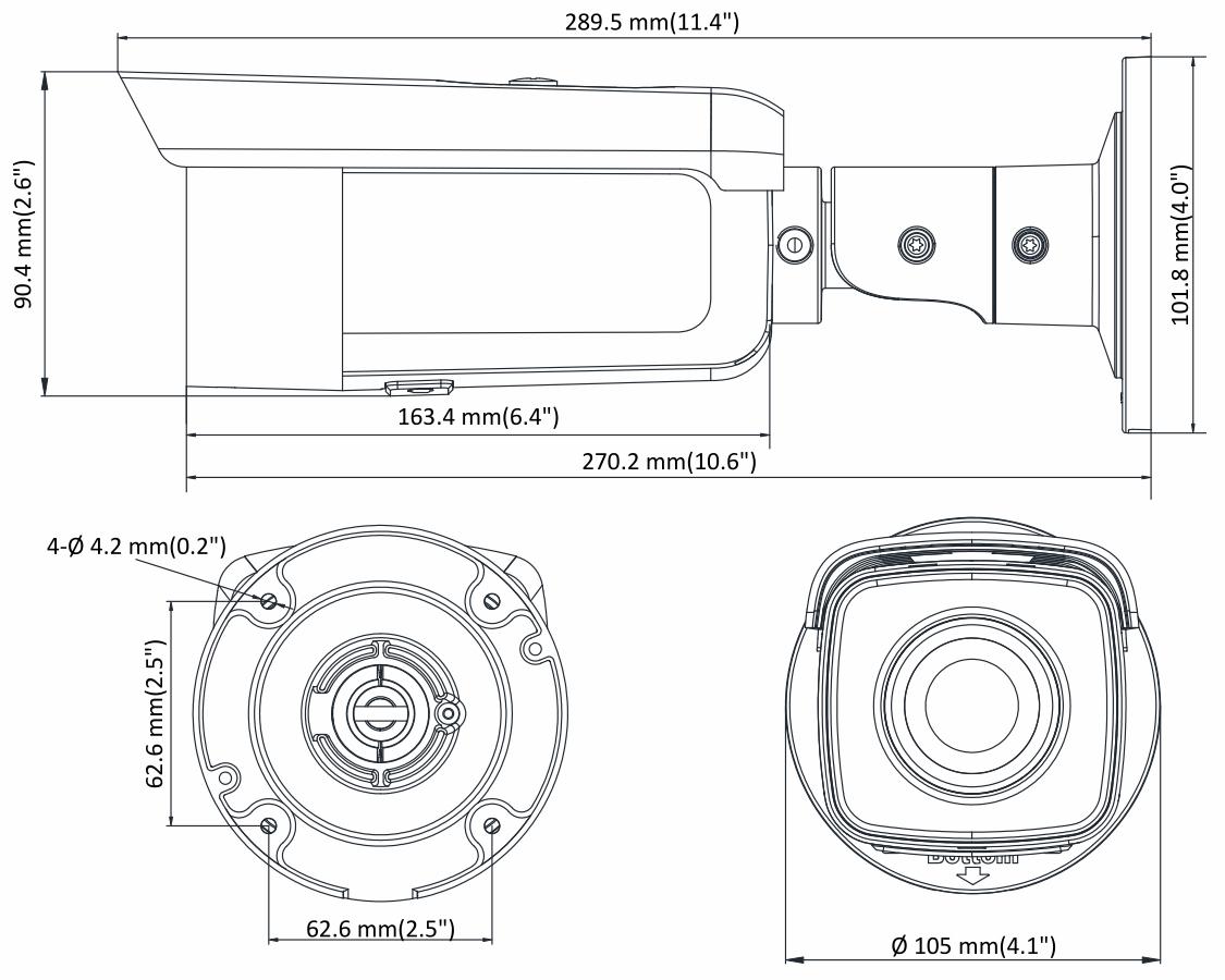 DS-2CD2T65FWD-I5 - Wymiary kamery IP.