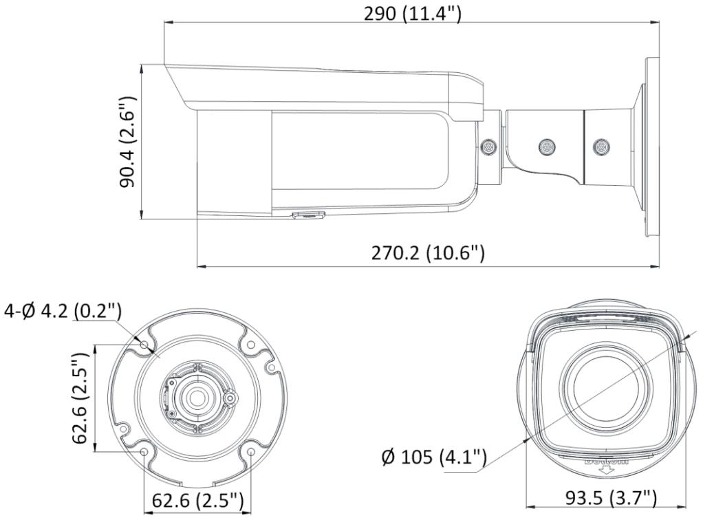 Wymiary kamery IP.