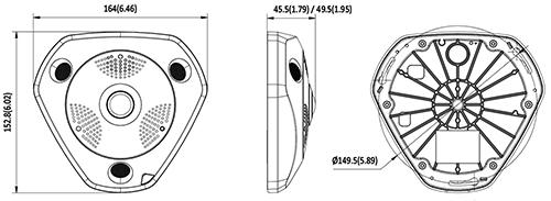 DS-2CD6332FWD-I - Wymiary kamery fisheye IP.