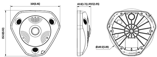 DS-2CD6362F-IVS - Wymiary kamery fisheye IP.