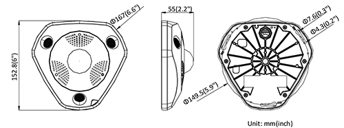 DS-2CD63C5G0-IVS - Wymiary kamery fisheye IP.
