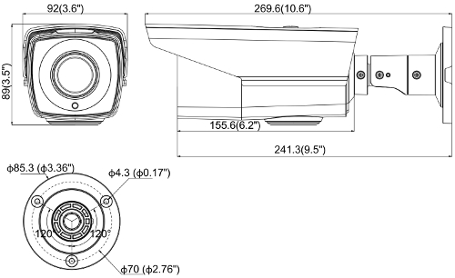 DS-2CE16D0T-VFIR3F - Wymiary kamery podane w mm.