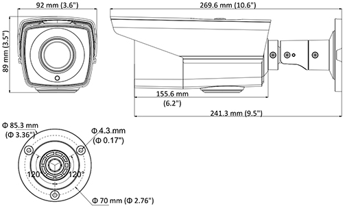 DS-2CE16D8T-IT3ZE - Wymiary kamery podane w mm.