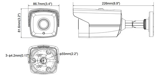 DS-2CE16D1T-IT3 - Wymiary kamery podane w mm.