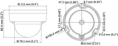 DS-2CE56D8T-VPIT(E) - Wymiary kamery podane w mm.