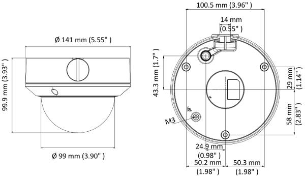 DS-2CE5AD0T-VPIT3F - Wymiary kamery podane w mm.