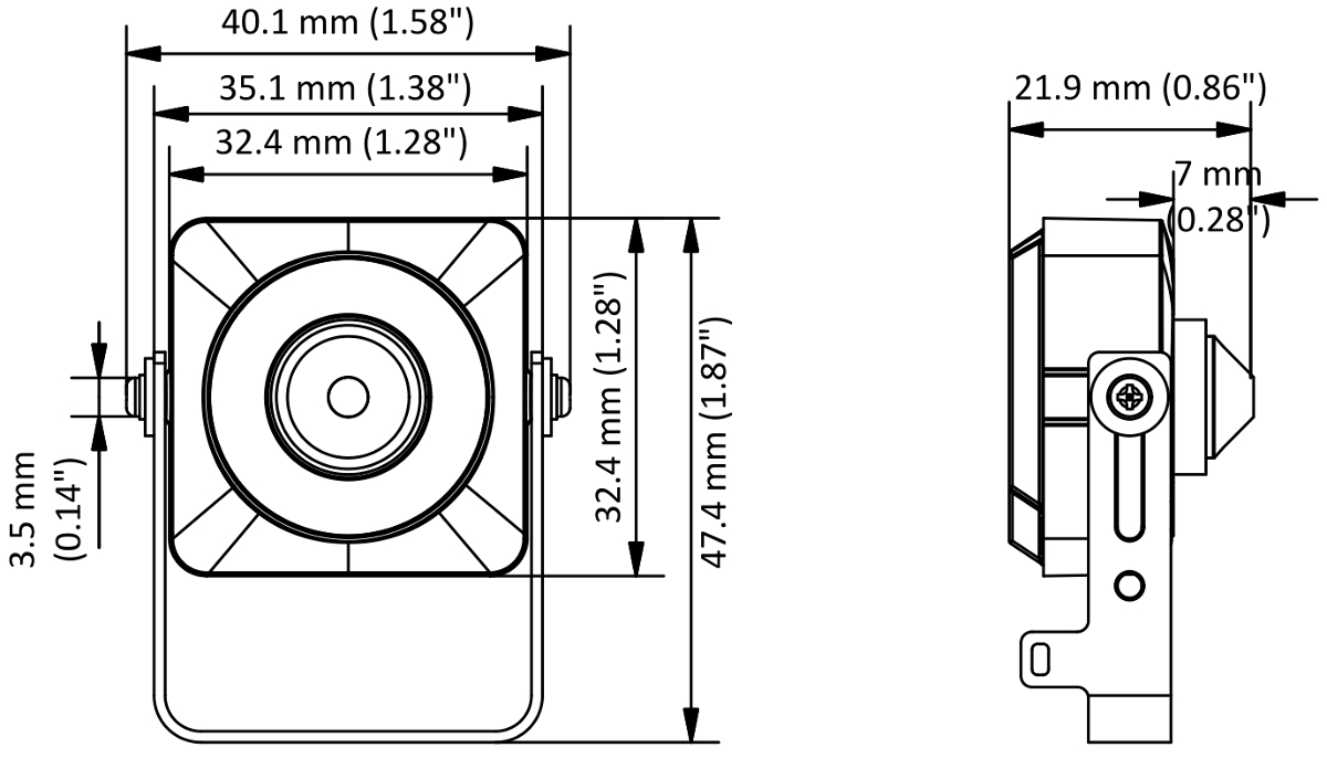 DS-2CS54D8T-PH - Wymiary kamery podane w mm.