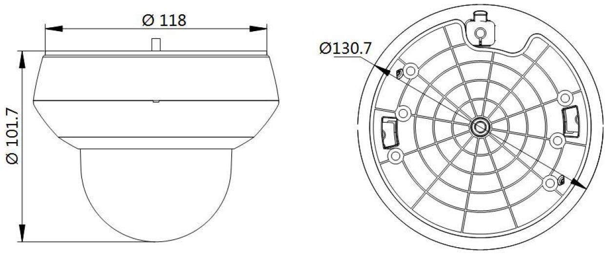 DS-2DE2A204IW-DE3 - Wymiary kamery IP PTZ.