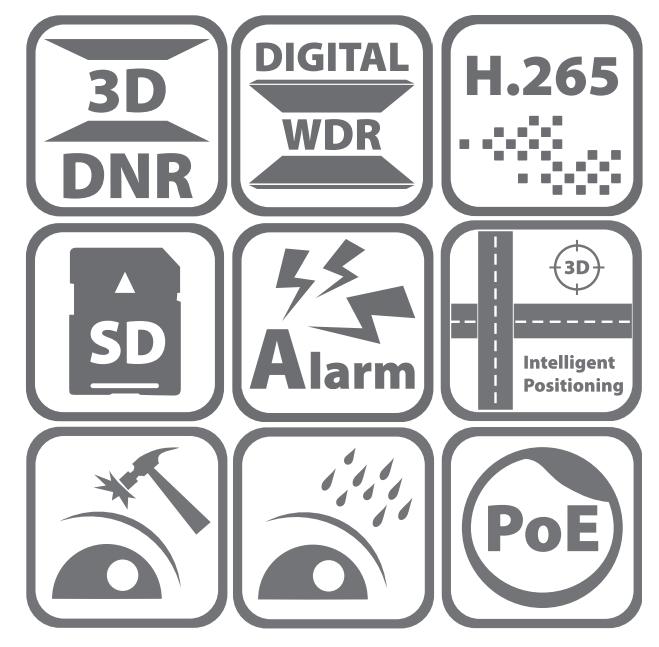 DS-2DE3204W-DE - Ikonki specyfikacji kamery.