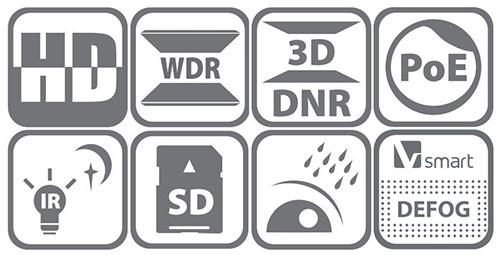DS-2DE4215IW-DE - Ikonki specyfikacji kamery.