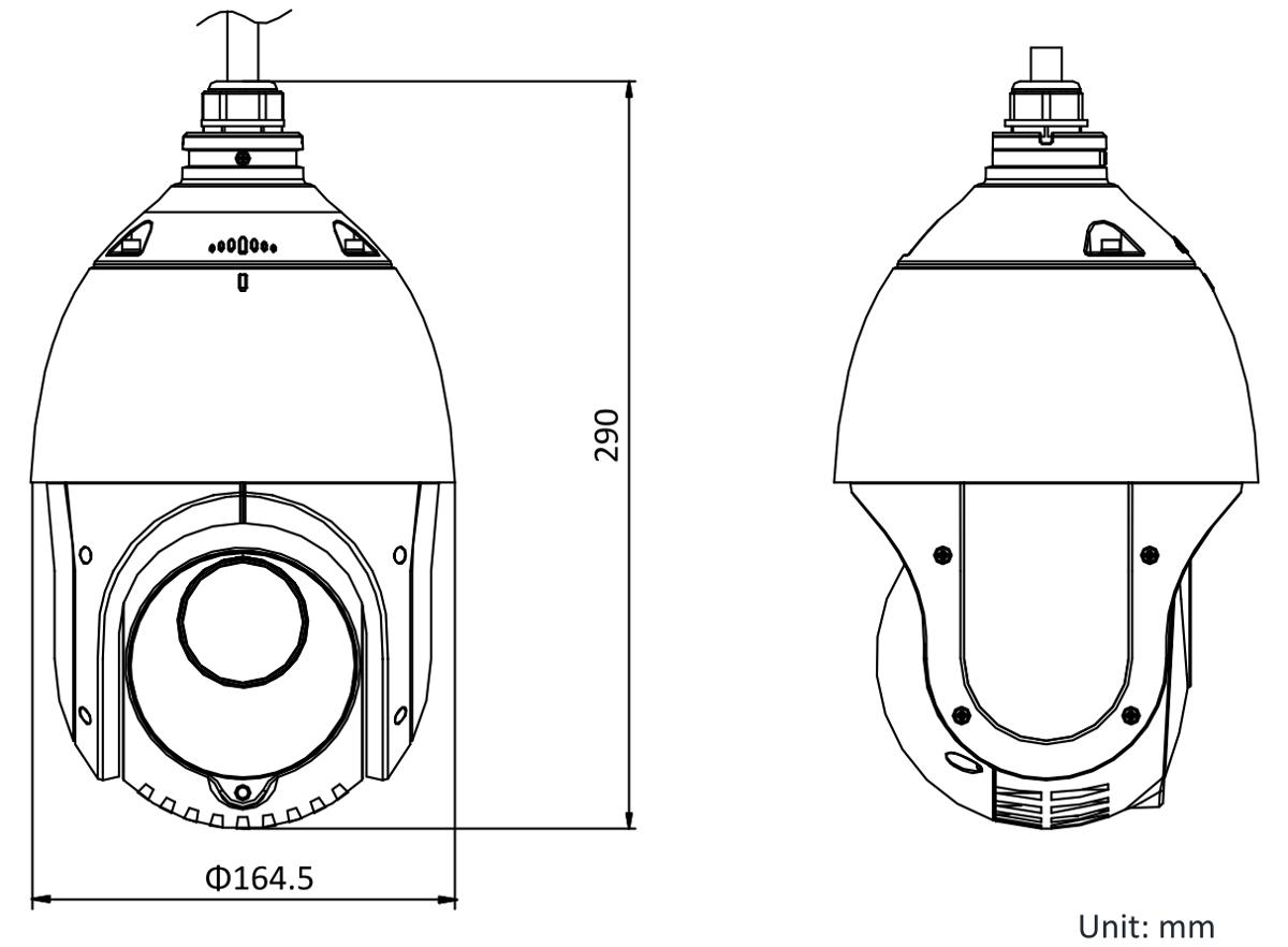 Wymiary kamery IP PTZ.