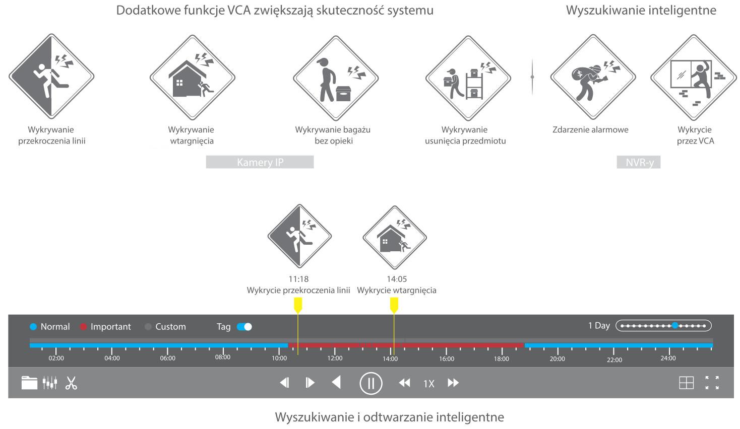 Funkcje inteligentnej analizy obrazu VCA.