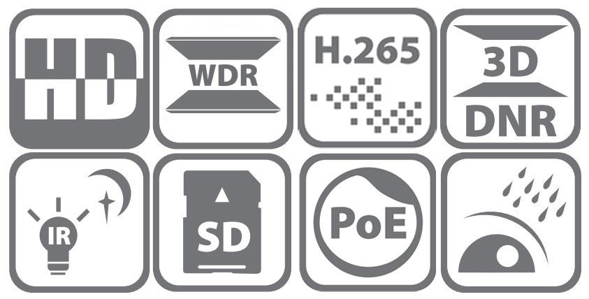 DS-2DE4425IW-DE - Ikonki specyfikacji kamery.