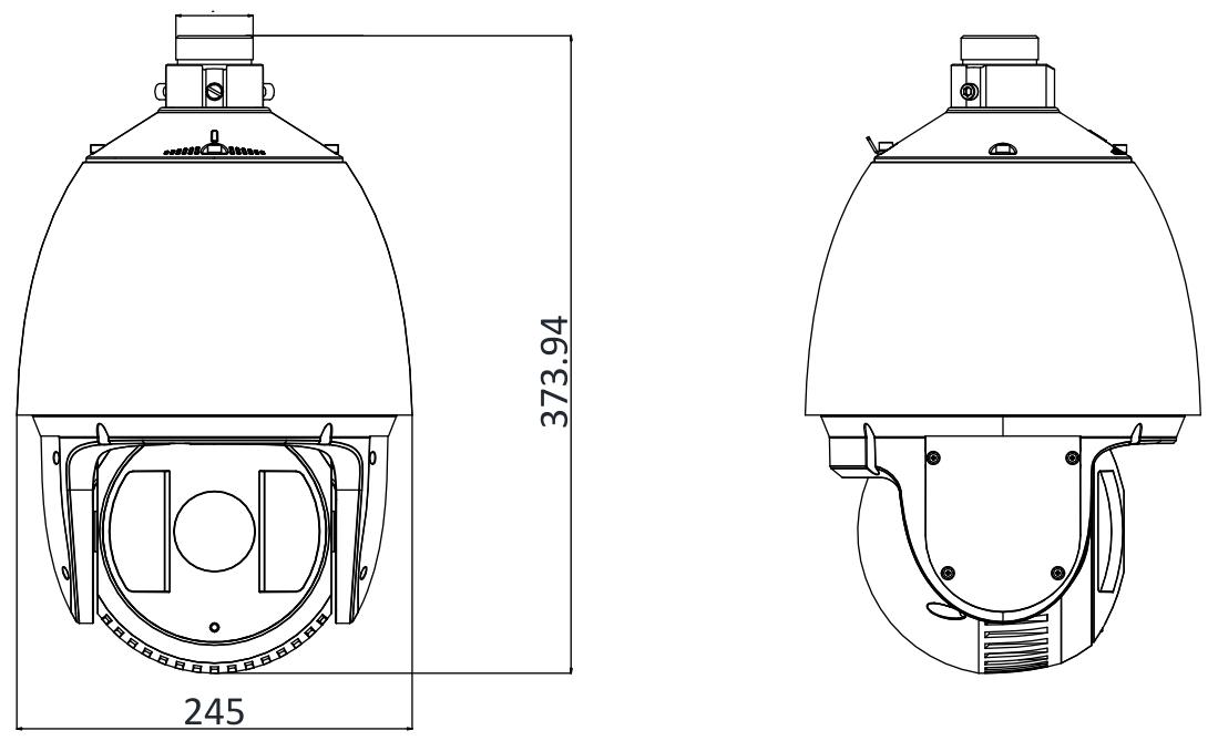 DS-2DF7225IX-AEL - Wymiary kamery IP PTZ.
