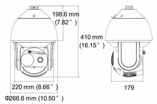 Wymiary kamery IP therma + wizja, PTZ Hikvision.