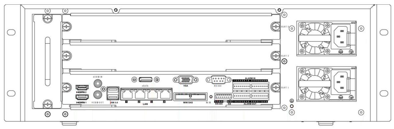 Rejestrator sieciowy Hikvision z wejściami i wyjściami alarmowymi.