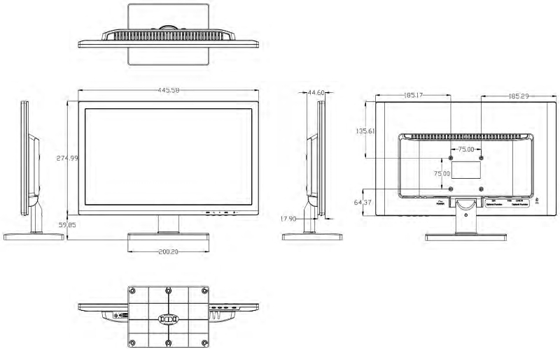 DS-D5019QE-B - Wymiary monitora Hikvision.