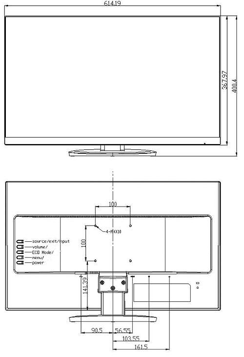 DS-D5027UC - Wymiary monitora Hikvision.