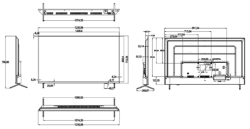 DS-D5055UC-C - Wymiary monitora Hikvision.