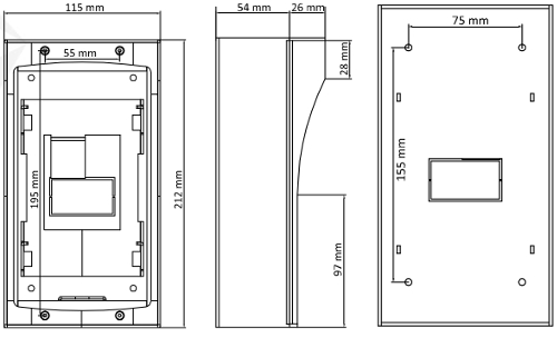 DS-KAB01 - Wymiary obudowy podane w mm.