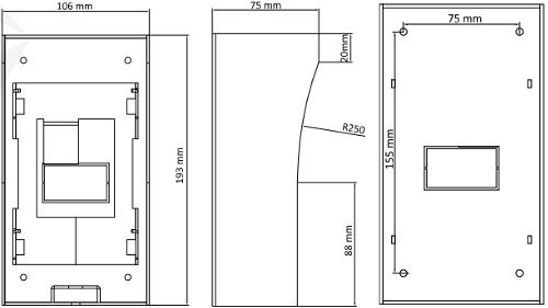 DS-KAB02 - Wymiary obudowy podane w mm.