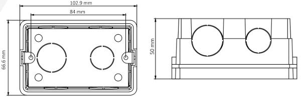 DS-KAB118 - Wymiary puszki podane w mm.
