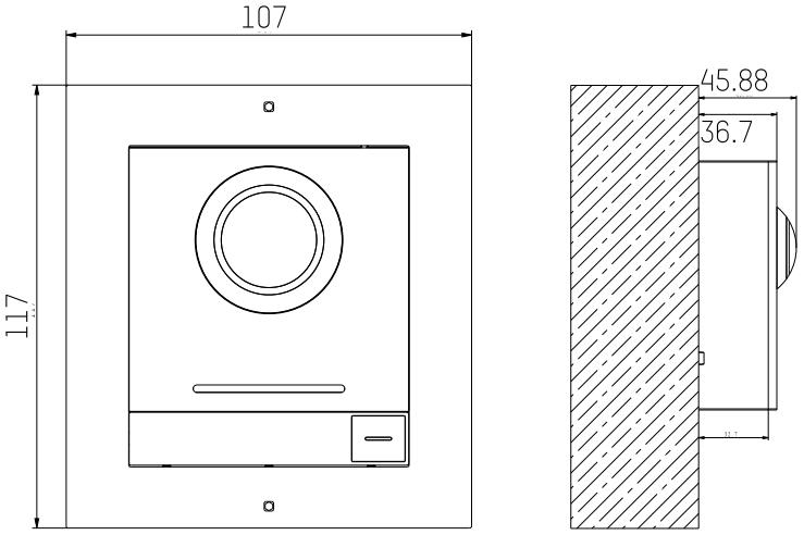 DS-KD-ACW1 - wymiary panelu podane w mm.