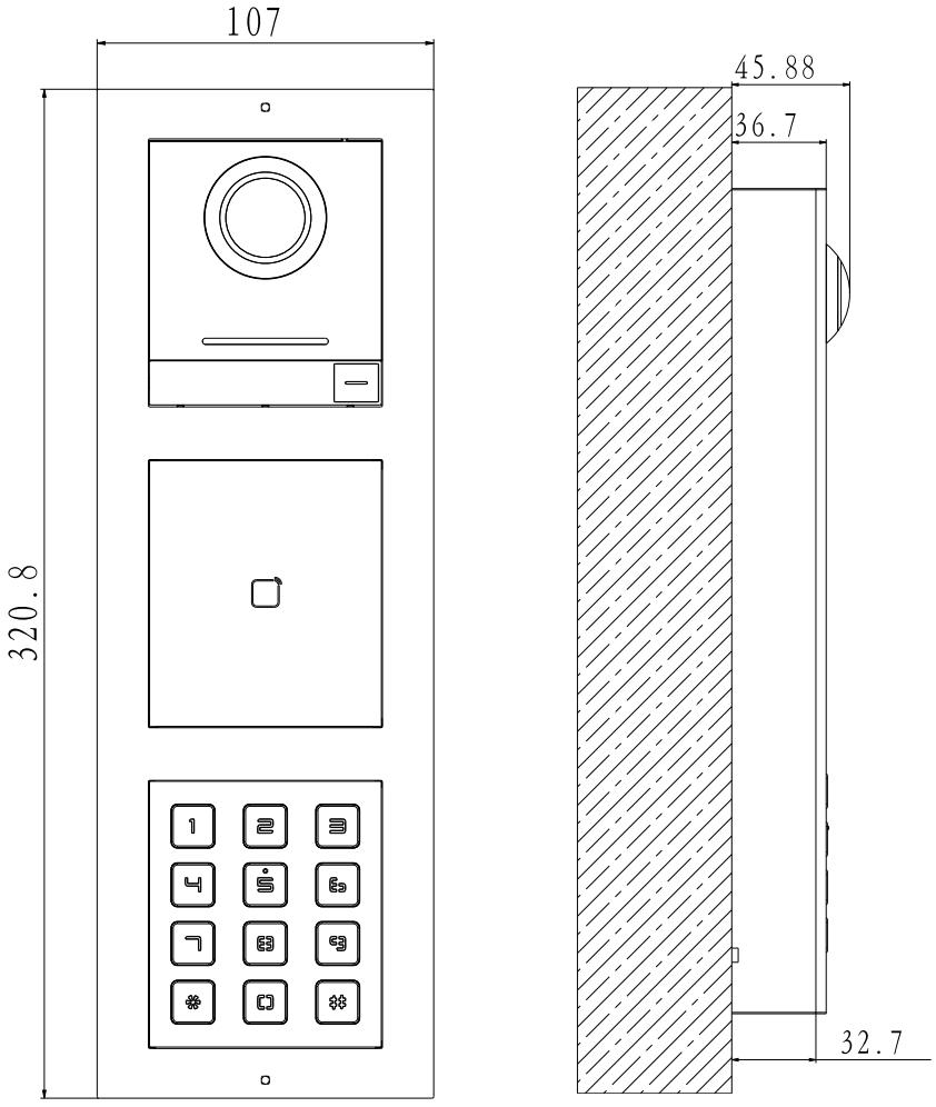 DS-KD-ACW3 - wymiary panelu podane w mm.