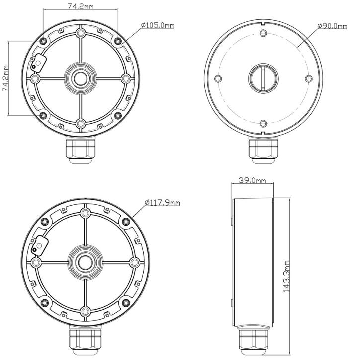 JB-104 - Wymiary podstawy montażowej IPOX.