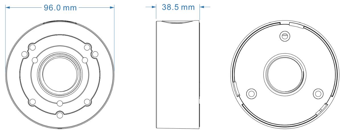 JB-104 - Wymiary uchwytu podane w mm.