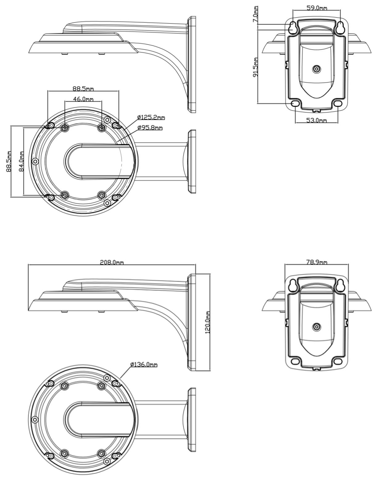 JB-202 - Wymiary uchwytu podane w milimetrach.