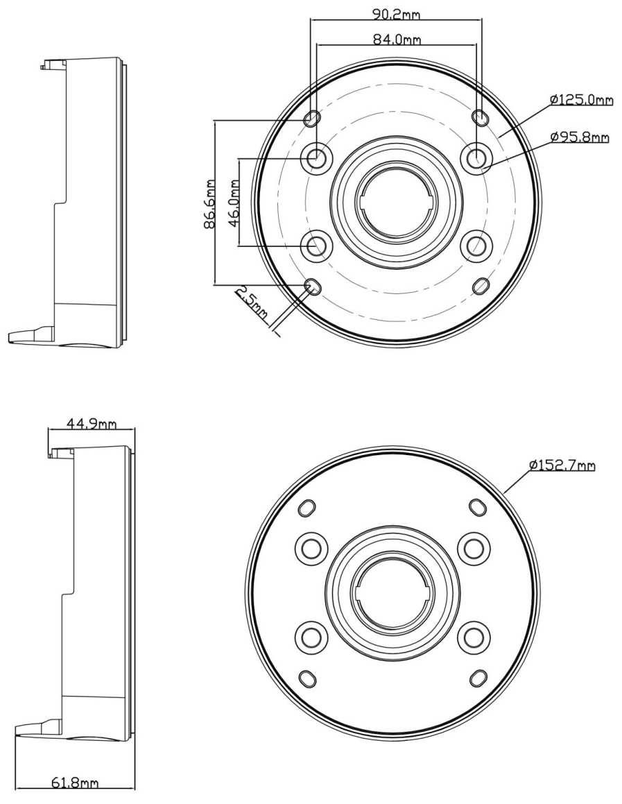 JB-204 - Wymiary podstawy montażowej IPOX.