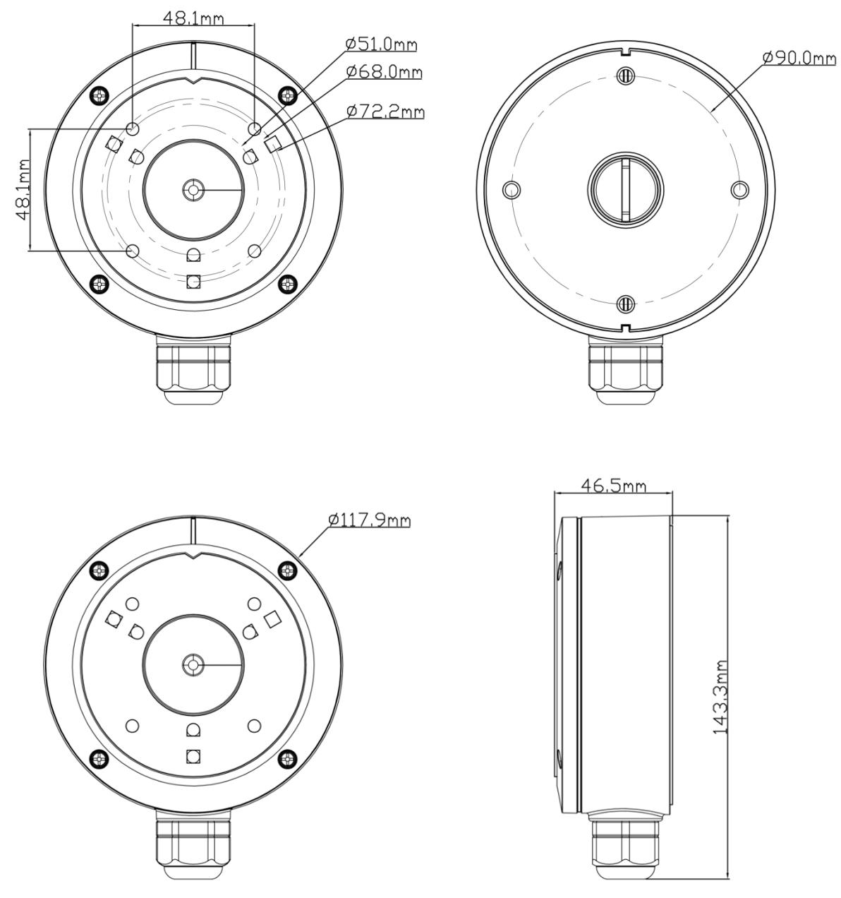 JB-105 - Wymiary uchwytu podane w mm.