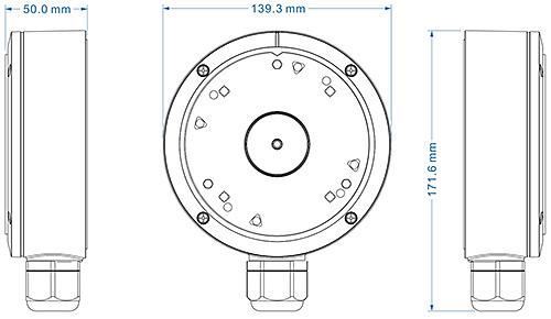 JB-302 - Wymiary podstawy montażowej IPOX.