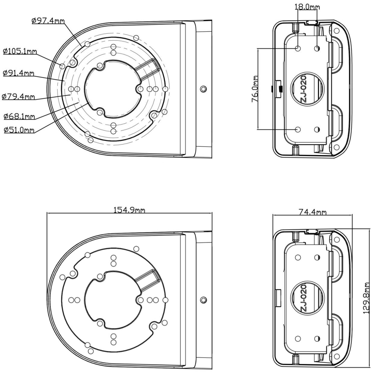 JB-603 - Wymiary uchwytu podane w milimetrach.