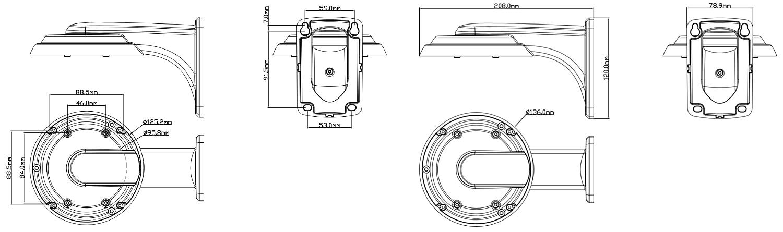 JB-605 - Wymiary podstawy montażowej IPOX.