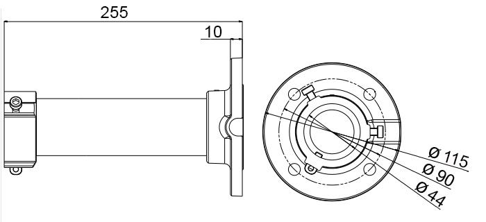 JB-807 - Wymiary uchwytu podane w milimetrach.
