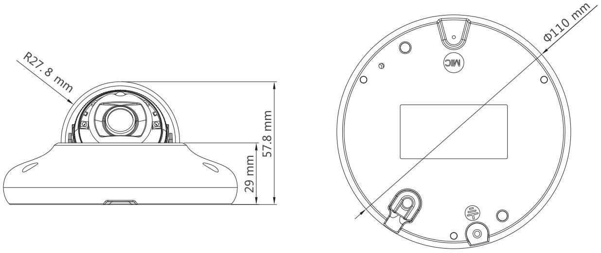PX-DMI2028AMS-P - Wymiary kamery podane w mm.