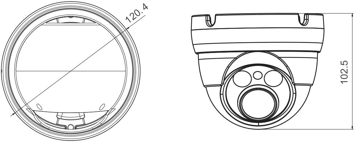 PX-DVH2002-E - Wymiary kamery podane w mm.