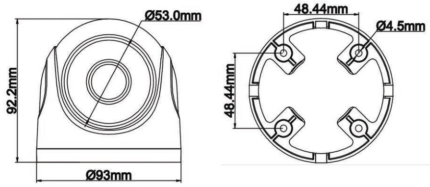 PX-DH2018BG - Wymiary kamery podane w mm.