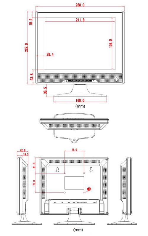 Wymiary monitora PX-M10.