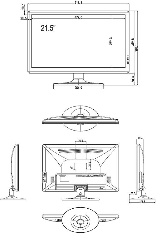 PX-M22 - Wymiary monitora IPOX.