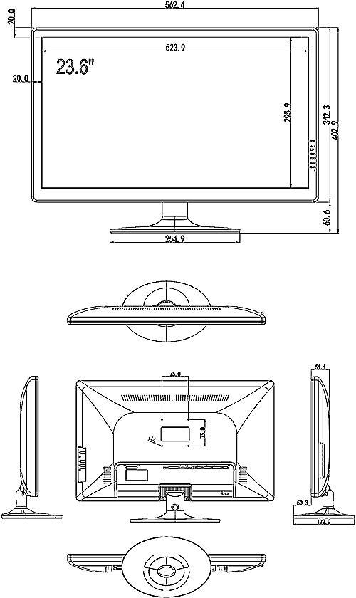PX-M24 - Wymiary monitora IPOX.