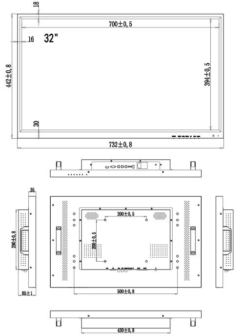 PX-M32 - Wymiary monitora IPOX.