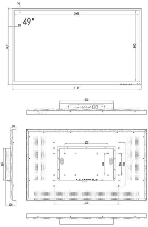 PX-M49 - Wymiary monitora IPOX.