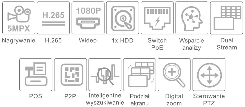 Specyfikacja rejestratora IPOX PX-NVR0851H-E-P8.