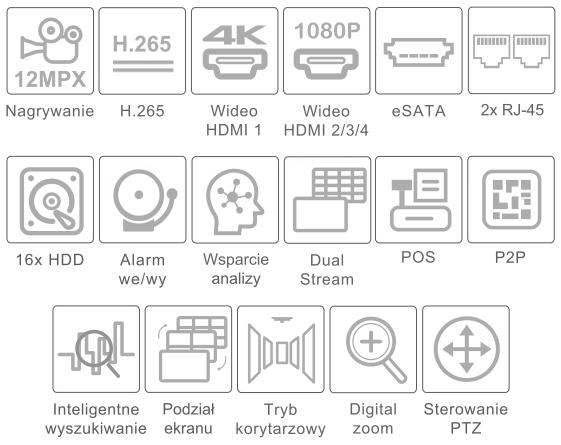 Specyfikacja IPOX PX-NVR128816H