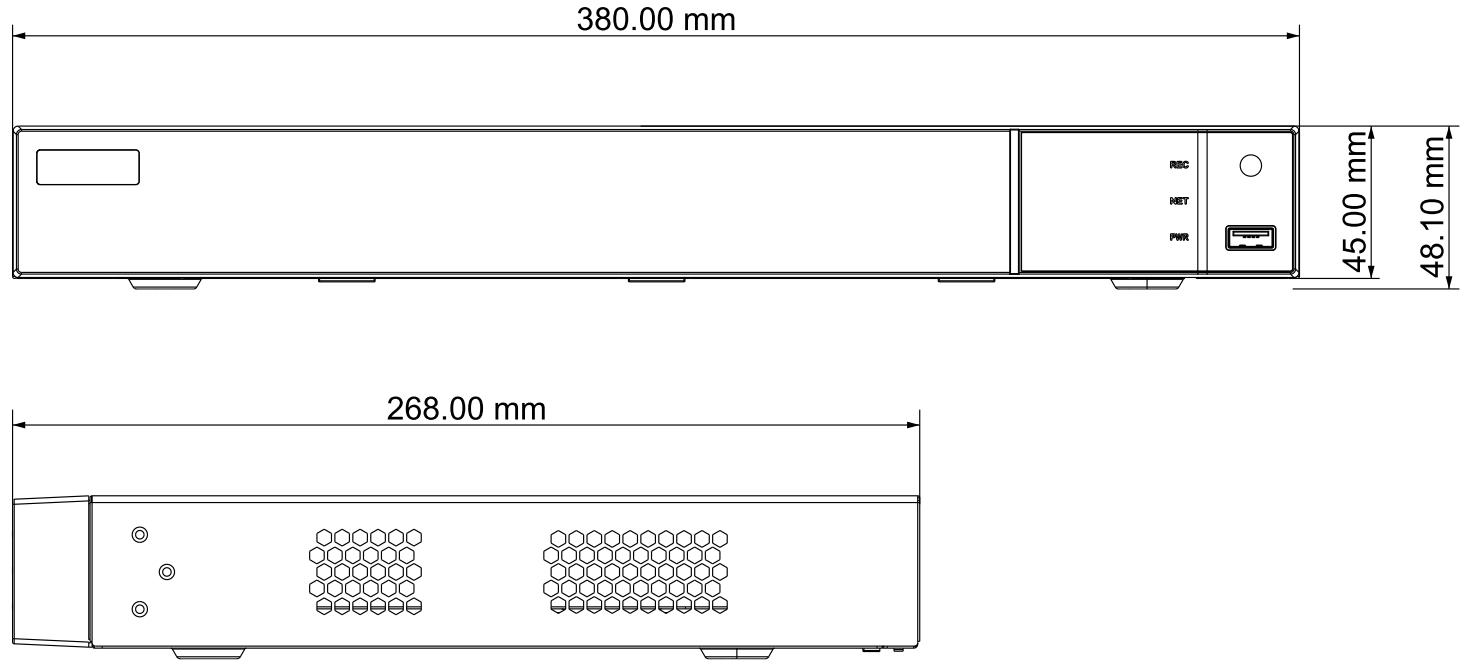 PX-NVR1682H-F - Wymiary rejestratora sieciowego IPOX.